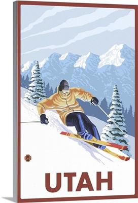 Downhill Snow Skier - Utah: Retro Travel Poster