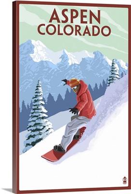 Downhill Snowboarder - Aspen, Colorado: Retro Travel Poster