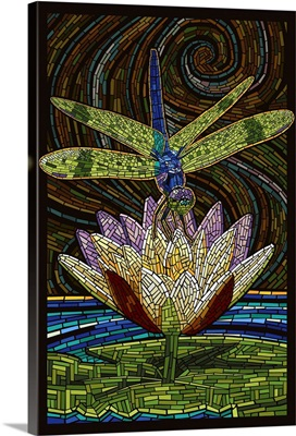 Dragonfly - Paper Mosaic: Retro Art Poster