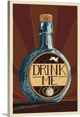 Drink Me Bottle: Retro Travel Poster