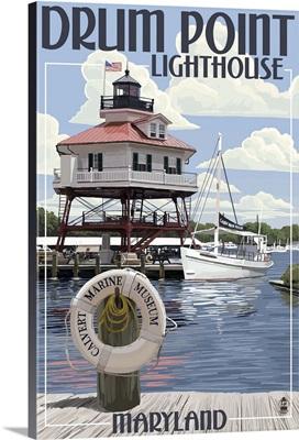 Drum Pt. Light in Summer - Maryland: Retro Travel Poster