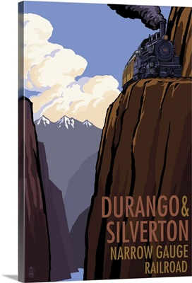 Durango and Silverton Narrow Gauge Railroad: Retro Travel Poster