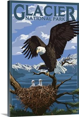Eagle Perched with Chicks - Glacier National Park, Montana: Retro Travel Poster