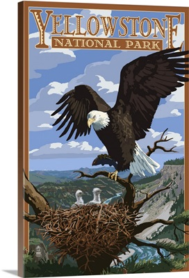 Eagle Perched - Yellowstone National Park: Retro Travel Poster