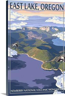 East Lake - Newberry Monument, Oregon: Retro Travel Poster