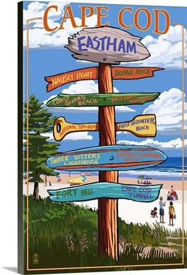 Eastham, Massachusetts Cape Cod - Sign Destinations Version 2 Retro Travel Poster