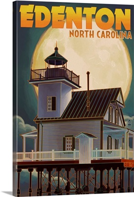 Edenton, North Carolina - Lighthouse and Moon: Retro Travel Poster