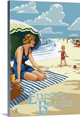 Edisto Beach, South Carolina - Beach Scene: Retro Travel Poster