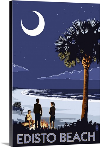 Edisto Beach South Carolina Palmetto Moon Retro Travel Poster