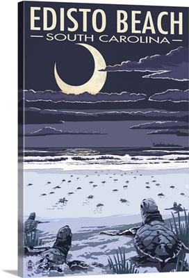 Edisto Beach, South Carolina - Sea Turtles Hatching: Retro Travel Poster