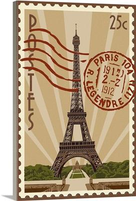 Eiffel Tower - Letterpress: Retro Art Poster