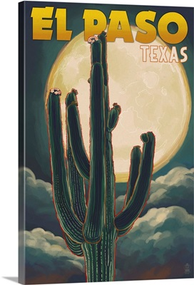 El Paso, Texas - Cactus and Full Moon: Retro Travel Poster