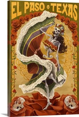 El Paso, Texas - Day of the Dead Dancer: Retro Travel Poster