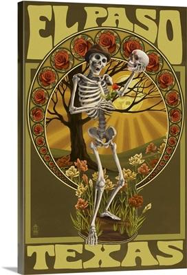 El Paso, Texas - Day of the Dead - Skeleton Holding Sugar Skull: Retro Travel Poster