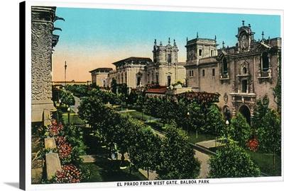 El Prado from West Gate, Balboa Park, San Diego, CA
