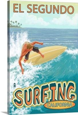 El Segundo, California - Surfer: Retro Travel Poster