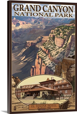El Tovar Hotel - Grand Canyon National Park: Retro Travel Poster