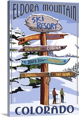Eldora, Colorado - Sign Destinations: Retro Travel Poster