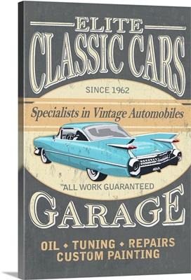 Elite Classic Cars Garage, Vintage Sign