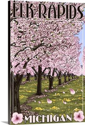 Elk Rapids, Michigan - Cherry Blossoms: Retro Travel Poster