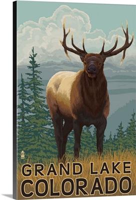 Elk Scene - Grand Lake, Colorado: Retro Travel Poster