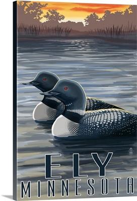 Ely, Minnesota - Loon on Lake: Retro Travel Poster