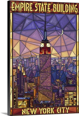 Empire State Building Stained Glass Window - New York City, NY: Retro Travel Poster