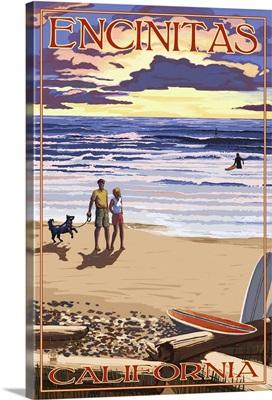 Encinitas, California - Beach and Sunset: Retro Travel Poster