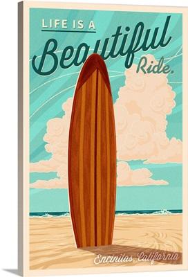 Encinitas, California, Surf Board Letterpress, Life is a Beautiful Ride