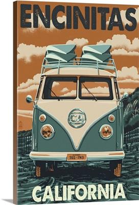 Encinitas, California - VW Van Blockprint: Retro Travel Poster