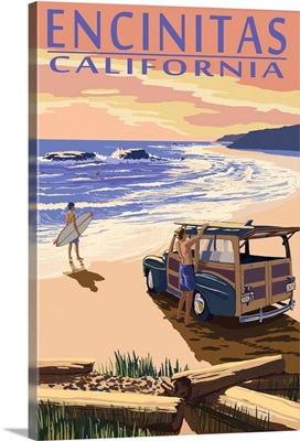 Encinitas, California - Woody on Beach: Retro Travel Poster