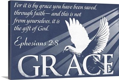 Ephesians 2:8 - Inspirational - Lantern Press Artwork: Retro Travel Poster
