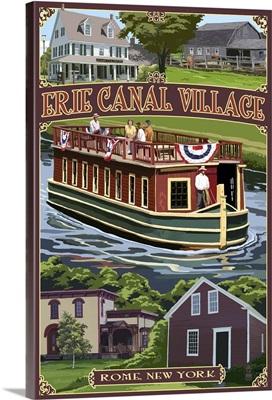 Erie Canal Village, New York Views: Retro Travel Poster