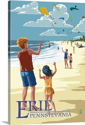 Erie, Pennsylvania - Kite Flyers: Retro Travel Poster