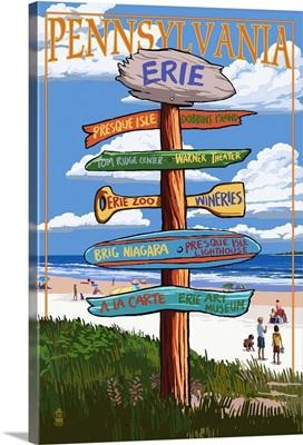 Erie, Pennsylvania - Sign Destinations: Retro Travel Poster