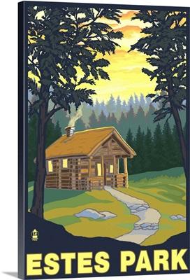 Estes Park, Colorado - Cabin Scene: Retro Travel Poster