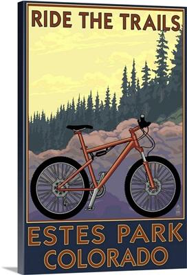 Estes Park, Colorado - Ride the Trails: Retro Travel Poster