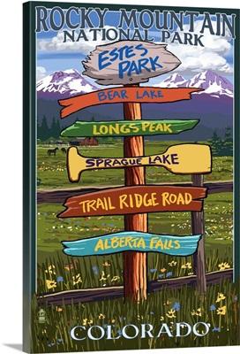 Estes Park, Colorado - Sign Destinations: Retro Travel Poster