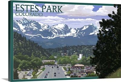 Estes Park, Colorado - Town Scene: Retro Travel Poster