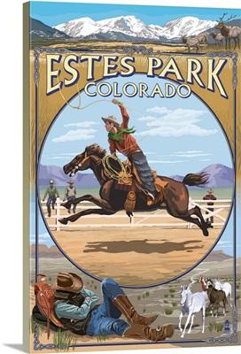 Estes Park, Colorado - Western Scenes: Retro Travel Poster