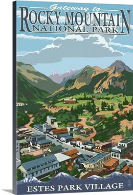 Estes Park Village, Colorado - Town View: Retro Travel Poster