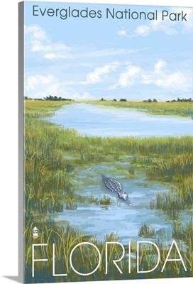 Everglades National Park - Alligator: Retro Travel Poster