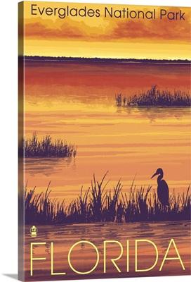 Everglades National Park - Sunset: Retro Travel Poster