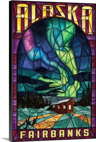 Fairbanks Alaska Cabin And Northern Lights Stained Gl Canvas