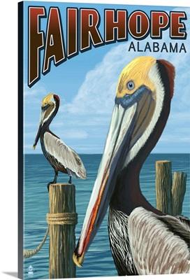 Fairhope, Alabama - Pelican Scene: Retro Travel Poster