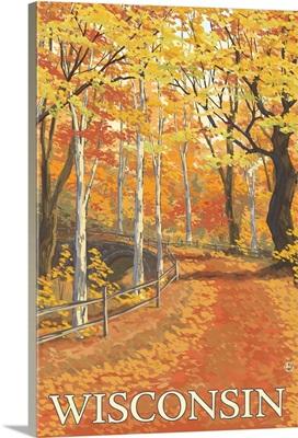Fall Colors Scene - Wisconsin: Retro Travel Poster