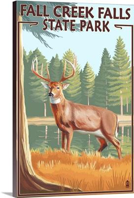Fall Creek Falls State Park, Tennessee - Deer Scene: Retro Travel Poster
