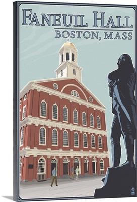 Faneuil Hall - Boston, MA: Retro Travel Poster