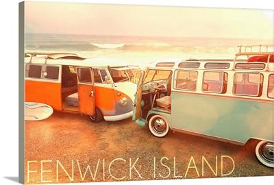 Fenwick Island, Delaware, VW Vans on Beach