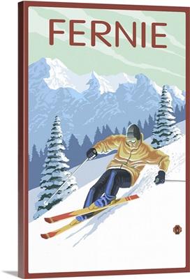 Fernie, Canada - Downhill Skier: Retro Travel Poster